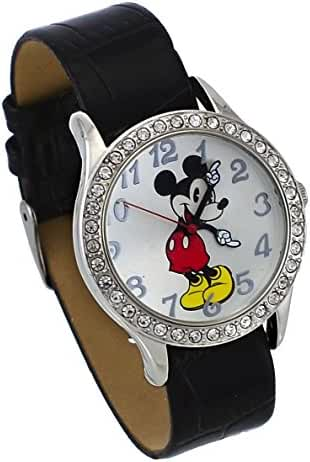 Disney #MCKAQ1222 Women's Mickey Mouse Girl's Crystal Bezel Silver Dial Analog Watch