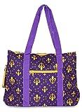 Ever Moda Fleur de Lis Tote Bag X-Large (Purple Gold)