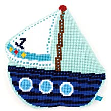 Cross Stitch Cushion: Shaped: Little Boat