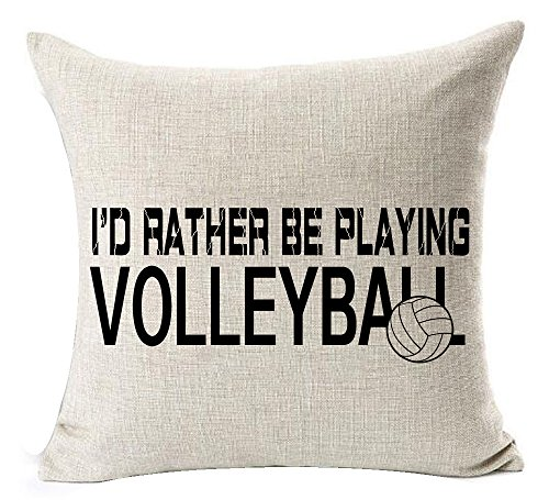 Sports Series Black I'd Rather Be Playing Volleyball Design Cotton Linen Home Throw Pillow Case Cushion Cover NEW Home Office Decorative Square 18 X 18 Inches ()