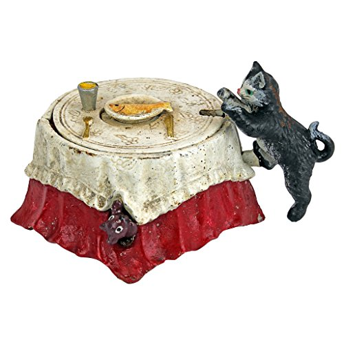 Design Toscano Fish for Cat Die-Cast Iron Mechanical Coin Bank, Full Color