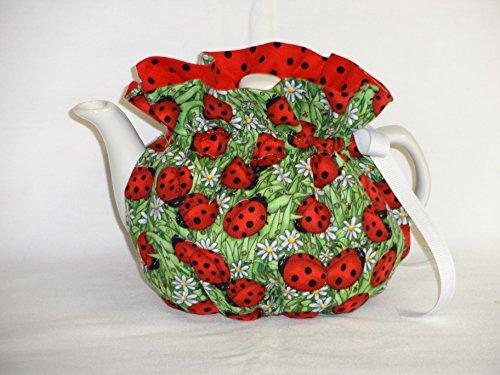 - 2 Cup Pretty Lady Bugs & Daisies Reversible Tea Pot Cozy