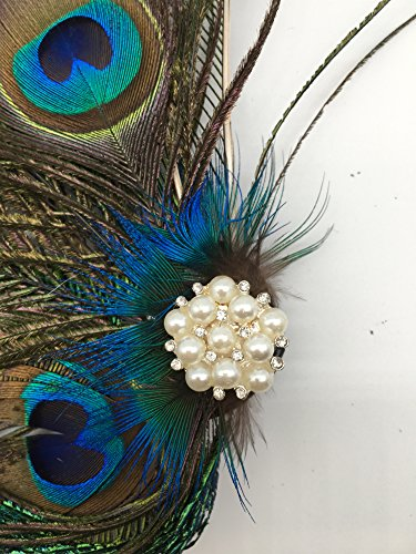 Women Girls Peacock Feather Hair Clip Retro Wedding Carnival Party Hairpin by TCYIN (Image #4)