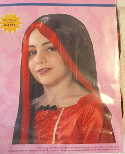 [Long Black Witch Wig with Red Stripe Child OSFM] (Witch Wig Stripes)
