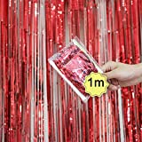 Dreamyth Foil Fringe Curtain, 1 Pack Black Tinsel Foil Fringe Photo Backdrop for Birthday Party Wedding Decor (Red, 1mx1m)