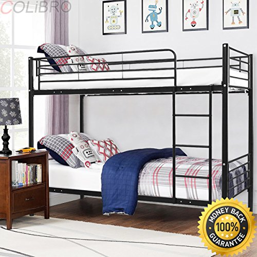 COLIBROX Metal Twin Over Twin Bunk Beds Ladder Kids Teens Dorm Bedroom Furniture Black. metal bunk beds twin over twin.metal bunk beds walmart.metal bunk beds twin over full.metal bunk beds - Mart Twin Beds Wal