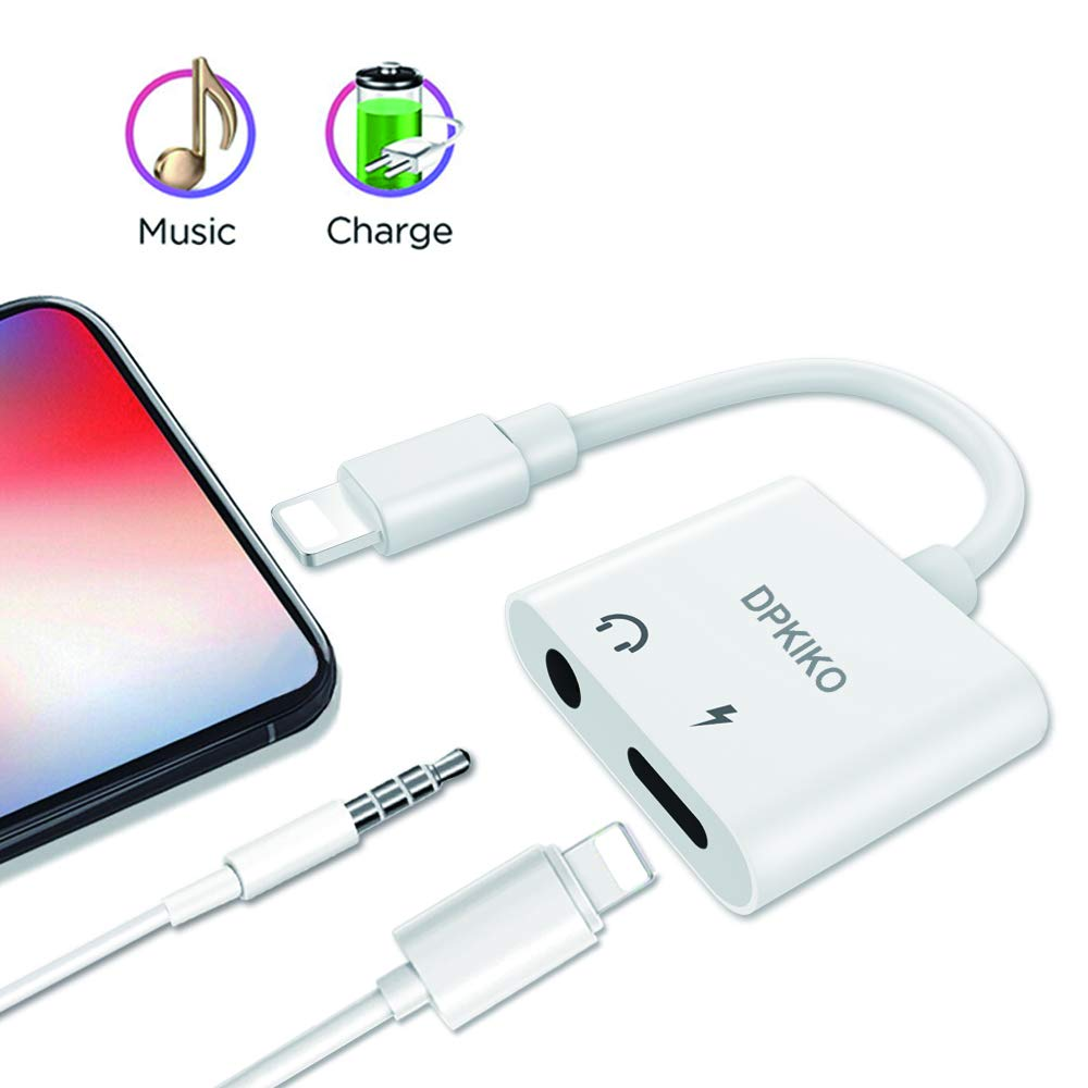 iPhone Adapter for iPhone 7/7 plus/8/8 plus/x, Lightning to 3.5 mm Headphone Jack Adapter, DPKIKO 2 in 1 Lightning iPhone Audio Aux Music Control and Charge Adaptor Splitter