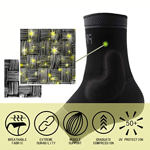 Protle Foot Socks Ankle Brace Compression Support Sleeve with Silicone Gel - Boosts Recovery from Joint Pain, Sprain, Plantar Fasciitis, Heel Spur, Achilles tendonitis (Medium, Pair-Black) by Protle (Image #4)