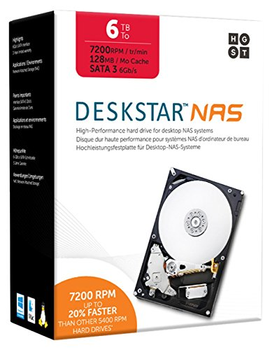 "HGST DeskStar NAS 3.5"" 6TB 7200 RPM 128MB Cache SATA 6.0Gb/s High-Performance Hard Drive ..."