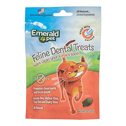 Emerald Pet - Cat Dental Treat, Salmon, All Natural, Grain Free, Gluten Free, Soy Free, Dairy Free, Allergy Friendly, For Healthy Feline Teeth (3 Ounce)