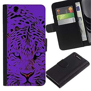 Sony Xperia Z1 Compact / Z1 Mini / D5503 Modelo colorido cuero carpeta tirón caso cubierta piel Holster Funda protección - Black Tiger Animal Stylish