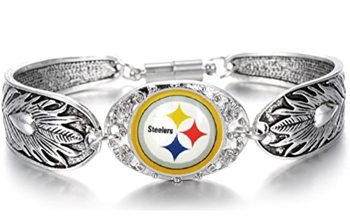 (Devastating Designs Women's Tibetian Silver Pittsburgh Steelers Bracelet Football Gift)