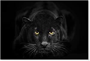 SEVEN WALL ARTS -Black White Canvas Wall Art Animal Leopard Poster Pictures Black Panther Giclee Print on Canvas Stretched Living Room Bedroom Ready to Hang 24 x 36 Inch