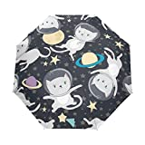 FORMRS 3 Folds Umbrella Fun Cat Astronau Auto Open Close Anti-UV Umbrella