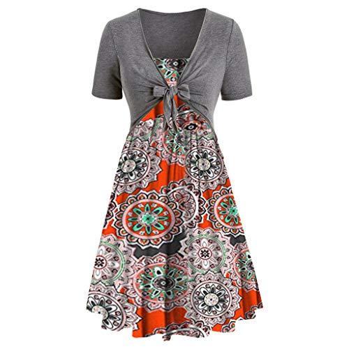 Women's Dresses-Summer Floral Bohemian Spaghetti Strap Button Down Swing Midi Dress with Pockets Orange