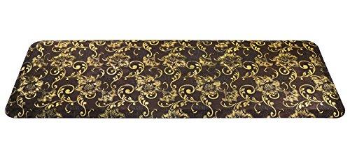 Urvigor Anti Fatigue Mats Comfort Kitchen Floor Mats Standing Mat,Antique Light Flower Pattern (24x70x3/4-Inch, Brown) -