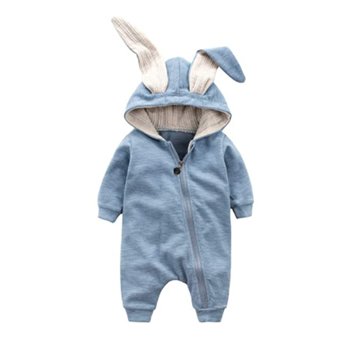 d5ffebe4590f Amazon.com  Ding-dong Baby Boys Girls Rabbit Romper  Clothing