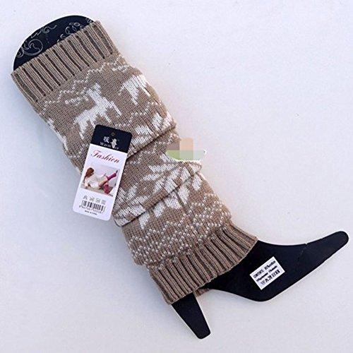 Womens Adult Knee High Winter Knit Crochet Halloween Boot Socks Leg Warmers Deer Khaki CmFx2F1Xdb