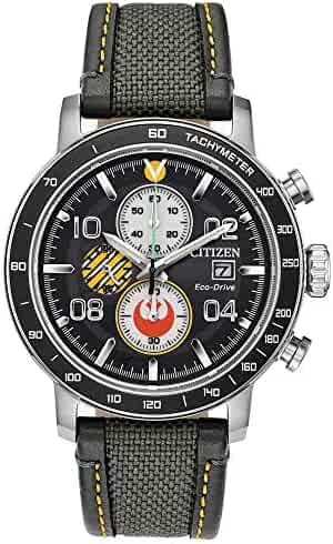 Citizen Men's Star Wars Classic Stainless Steel Quartz Nylon Strap, Gray, 14 Casual Watch (Model: CA0646-04W)