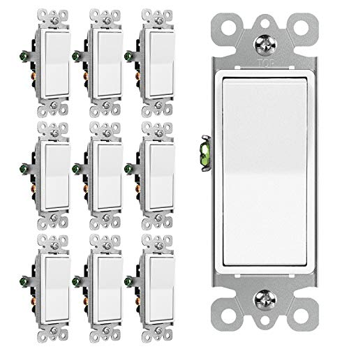 [10 Pack] BESTTEN 3-Way Decorator Wall Light Switch, 15A 120/277V, On/Off Rocker Interrupter, UL Listed, White