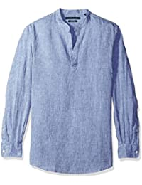 Perry Ellis Men's Standard Long Sleeve Solid Linen...