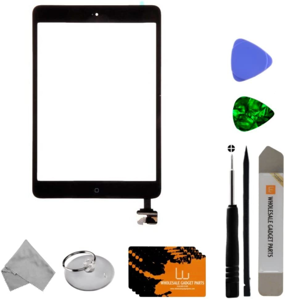 for Apple iPad Mini Pre-Soldered with Adhesive /& Resistors Black Digitizer /& IC Connector with Tool Kit