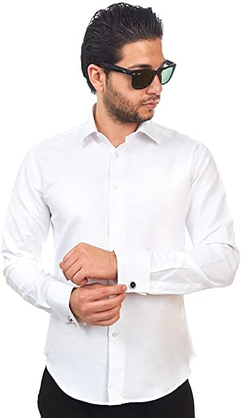 New Mens Dress Shirt Solid White Tailored Slim Fit Wrinkle Free Cotton AZAR MAN