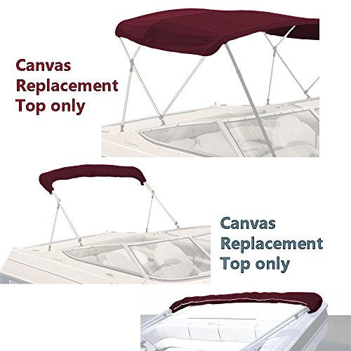(SavvyCraft Bimini TOP Boat Cover Canvas Fabric Burgundy 4 Bow 96