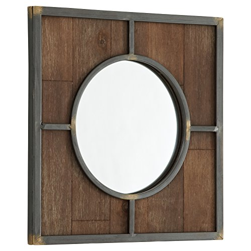 Stone & Beam Round Wood Quadrant Mirror, 15''H, Dark Wood Finish by Stone & Beam (Image #3)