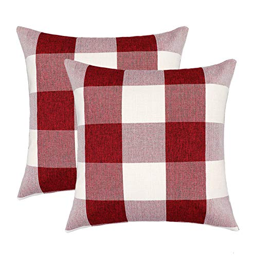 4TH Emotion 16x16 Inch Christmas Red and White Buffalo Check Plaids Throw Pillow Case Cushion Cover Valentines Day Decor Cotton Linen for Sofa Set of 2