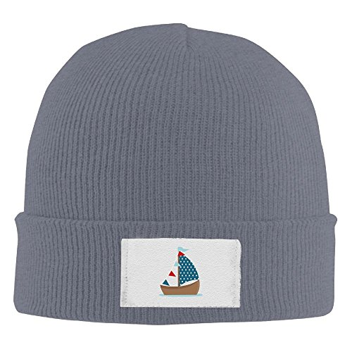 COEWRNCK Cute Sailboat Clipart Ski Warm Knit Caps Cool Roll New Vintage Beanie Hat (Clipart Boat)