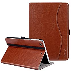 Ztotop iPad Mini Case, Premium Leather Business Folio Stand Protective Cover for Apple iPad Mini 3/ Mini 2/ Mini 1 Tablet with Auto Wake /Sleep, Document Card Slot, Multiple Viewing Angles, Brown