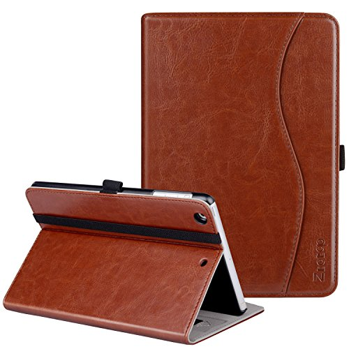 Ztotop iPad Mini 1/2/3 Case, Premium Leather Folio Stand Protective Case Smart Cover with Multi-Angle Viewing, Pocket, Functional Elastic Strap for Apple iPad Mini 3/ Mini 2/ Mini 1 - Brown