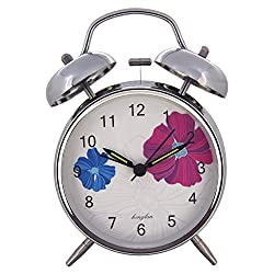 Konigswerk 4 Non-ticking Quartz Analog Retro Vintage Bedside Twin Bell Alarm Clock With Loud Alarm and Nightlight AC053G (Silver)