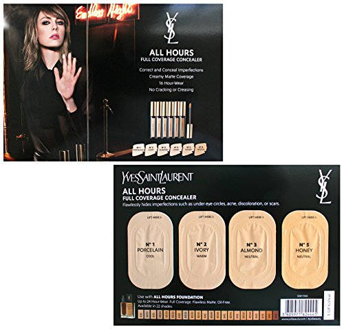 Yves Saint Laurent All Hours Full Coverage Concealer Sample Card (N1, N2, N3, (Card Coverage)
