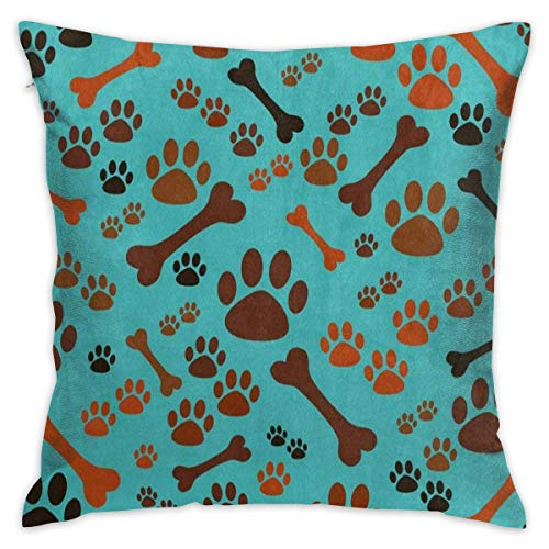 (ZninesOnhOLD Soft and Comfortable Polyester Square Decorative Throw Pillow Covers Zippered Pillowcases Cushion Cases for Sofa Bedroom Car (Puppy Dog Paw Print Bone, 18