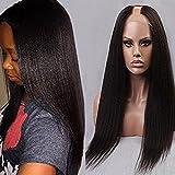 Foxys' Hair Virgin Italian Yaki Middle U Part Wig Glueless Light Yaki U Part Human Hair Wigs (24inch, natural color)