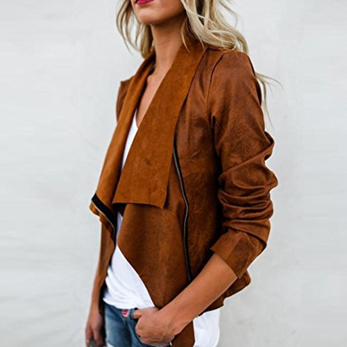 Coat Short Long Women Sleeve Bluester Outwear Windbreaker Fashion Ladies Biker Suedette Zipper Brown Jackets qSwAPHwn