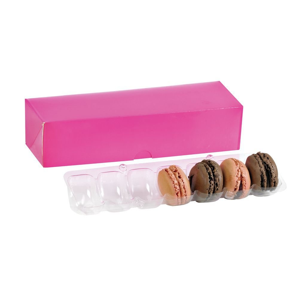 8 1/2 x 2 11/16 x 1 9/10 Pink Paper Box without Window for 7 Macaroons/Case of 250