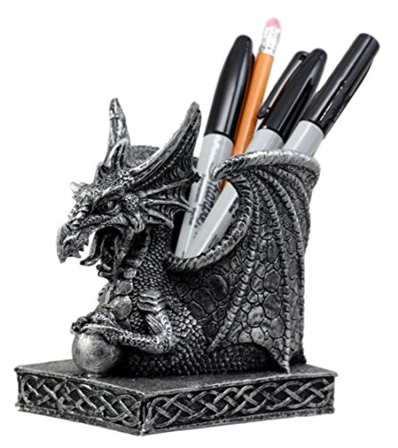 Ebros Gift Shenlong Spirit Dragon Orb Stationery Holder Figurine 4.75