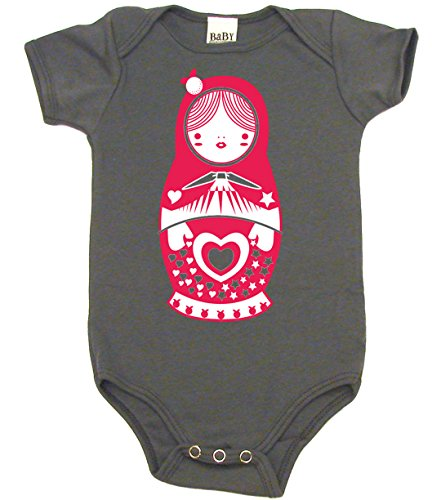 Matryoshka Doll Cute Bodysuit Baby Girl and Baby Boy Clothes, 3-6 MO, Organic Asphalt