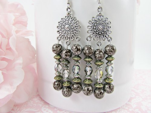 Antique Silver Chandelier Earrings with Black Luster Glass, Pewter and Iridescent Gray/Blue Faceted Beads -