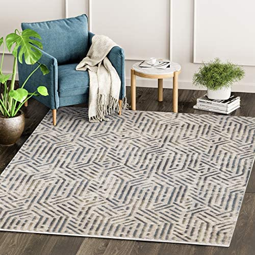 Abani Rugs Grey Brown Geometrical Motif Area Rug Rustic Contemporary Modern Style Accent, Vista Collection Turkish Made Superior Comfort Construction Stain Shed Resistant, 8 x 10 Feet