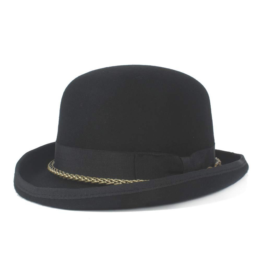 LL 100% Wool Wome Men Unisex Headwear Steampunk Bowler Hat Metal Chain Dome Topper Luxury Fedora Hat (Color : Black, Size : 57cm)