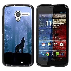 Paccase / SLIM PC / Aliminium Casa Carcasa Funda Case Cover - Nature Howling Wolf - Motorola Moto X 1 1st GEN I XT1058 XT1053 XT1052 XT1056 XT1060 XT1055