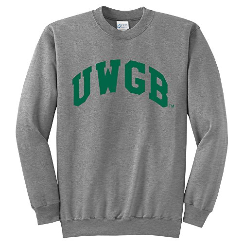 Campus Merchandise NCAA University of Wisconsin Green Bay Arch Classic Crewneck Sweatshirt, Light Heather Grey, - Green Classic Apparel