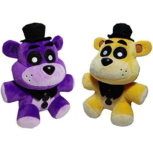 Soft and Beautiful Toys New Golden & Purple Freddy Bears Stuffed Animal Plush Toys 2pcs/set