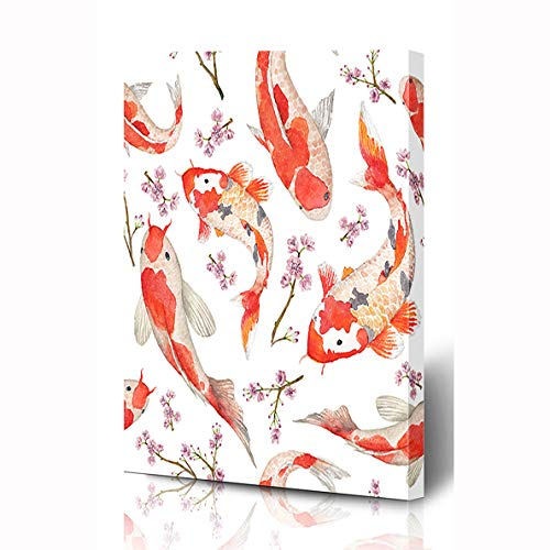 Ahawoso Canvas Prints Wall Art 12x16 Inches Yellow Red Fish Watercolor Oriental Pattern Rainbow Peaceful Carps Nature Koi Flower Wooden Frame Printing Home Living Room Office Bedroom