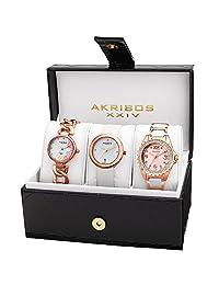 Akribos XXIV Women's AK887RG Quartz Movement Analog Display Rose Gold Tone Watch Set