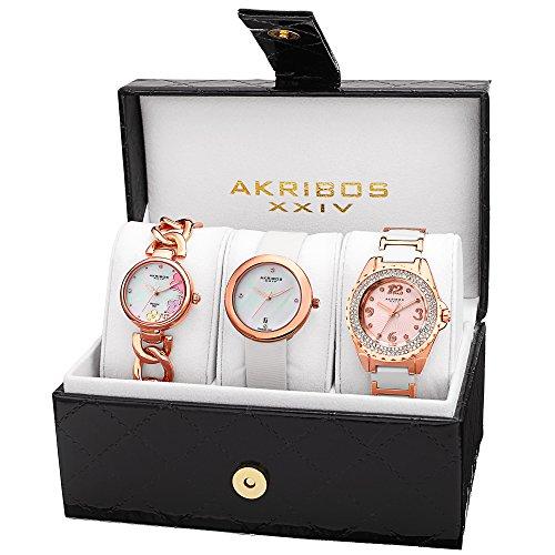 Diamond Set Wrist Watch (Akribos XXIV Women's AK887RG Quartz Diamonds Bracelet and Strap Watches)